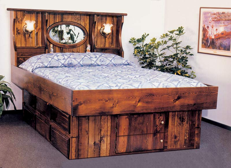 King Crestwood Wood Frame Waterbed with 12 drawer pedestal