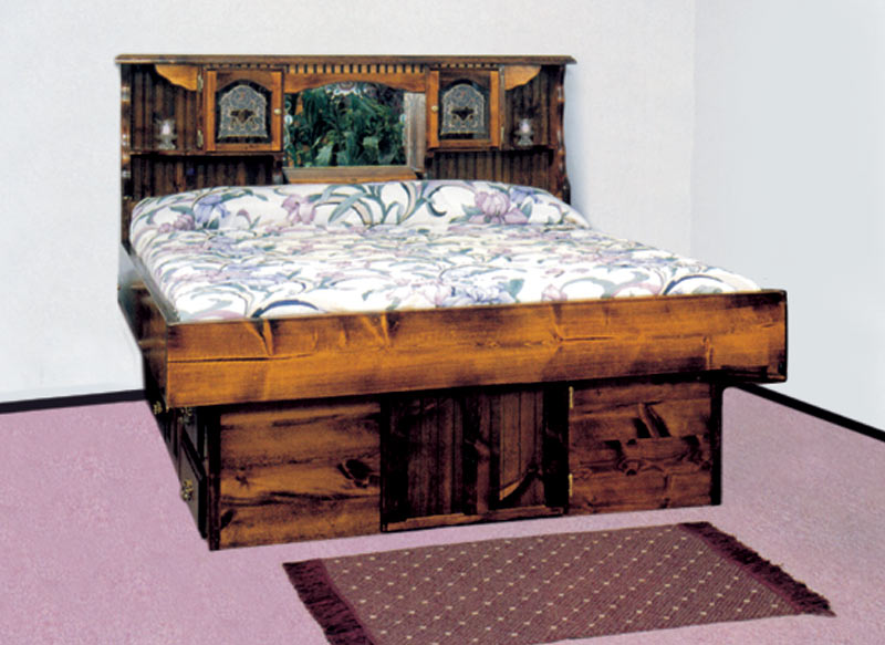 Cal King Wood Bed Frame Waterbed Mountain Floral Complete-HB,FR,deck,ped K ...